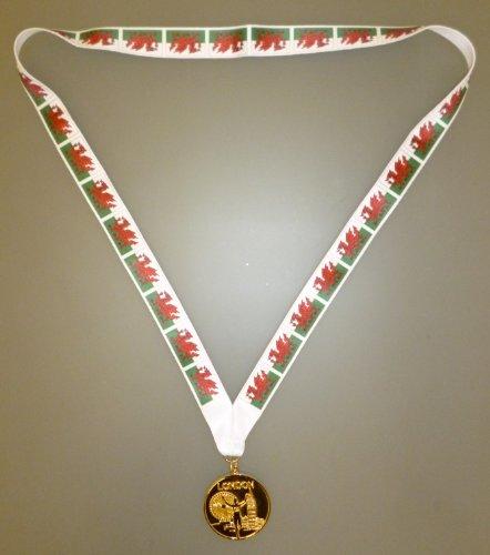 Pays de Galles olympique médaille - médaille d'or de Style olympique avec Welsh drapeau longe - EURO 2016 (MI3)