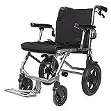 ultraligera Silla de ruedas Silla de transporte plegable con reposapiés en silla de ruedas plegable ultraligero con freno de mano, silla de ruedas de viaje adecuada para ancianos y niños, 16.5 en asie