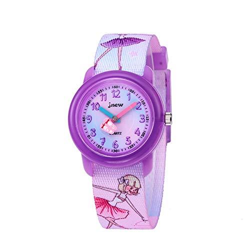 Montre pour enfant en forme de dessin animé 3D - Bracelet en silicone - Cadeau pour apprendre à lire l'heure - Pour filles et tout-petits Ballet rose en tissu.