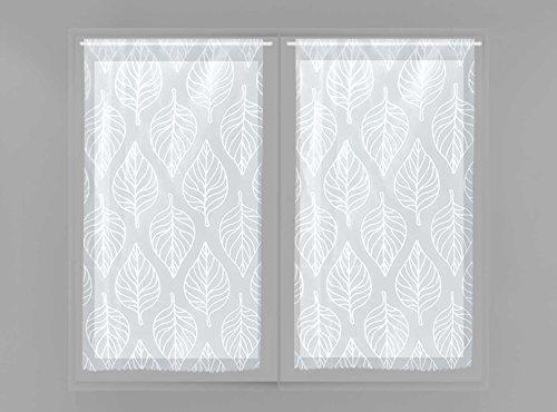Soleil d'ocre Maud, Par de mini visillos, Blanco, 2 x 45 x 90 cm