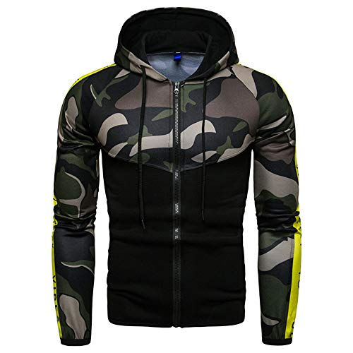 ZZOU Men Camouflage Cardigan Hoodies Jacket Full Zip Breathable Gym Sport Slim Fit Top Sweater Sweatshirt Long Sleeve Coats Outerwear Camo Pullover Walking Hoody Casual Patchwork Fitness