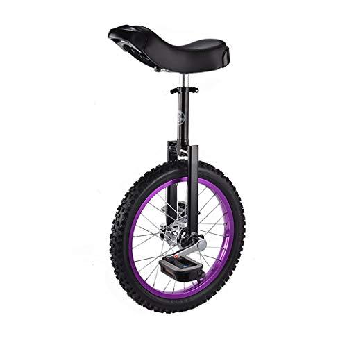 ZSH-dlc Einrad 16/18 Zoll Single Round Kinder Erwachsene Höhenverstellbar Balance Radfahren Übung Lila (größe : 16 inch)