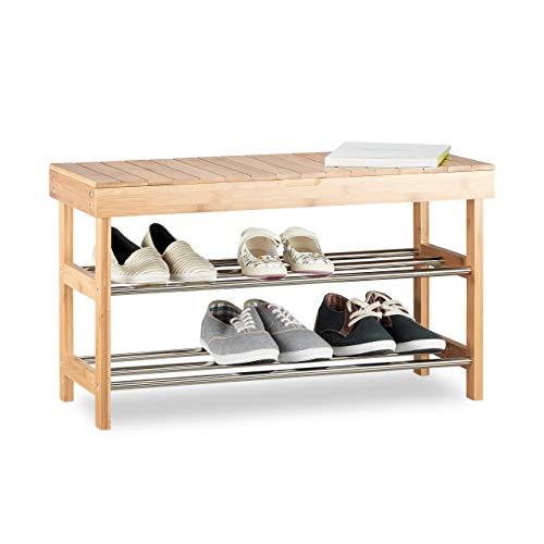 Relaxdays, Bambus Schuhschrank f. 6 Paar Schuhe, Sitzbank m. Stauraum HBT: 43x74x30 cm, Natur Schuhregal mit Sitzfläche, 30 x 74 x 43 cm 5 Kg