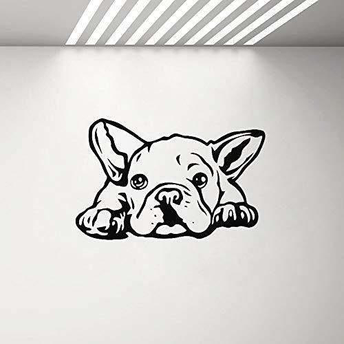 Tianpengyuanshuai Calcomanía de Vinilo para Pared de Bulldog, decoración de Sala de Estar, Pegatina artística para Cachorros, Tatuaje de Ventana para Pared, decoración de Aseo para Perros -42x66cm