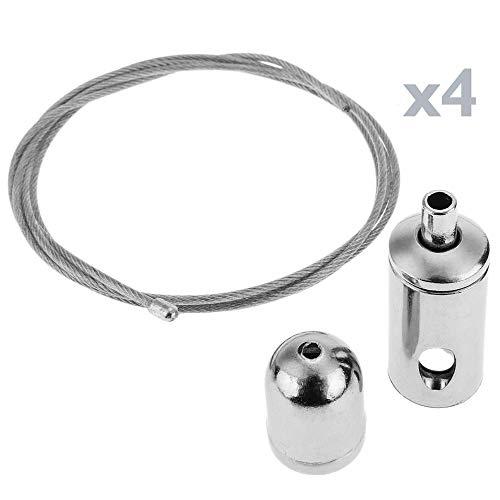BeMatik - Montage fils d'acier kit suspendus panneau LED - 4 fils