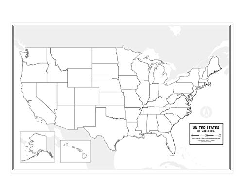"Large Blank United States Outline Map Poster, Laminated, 36"" x 24"" 