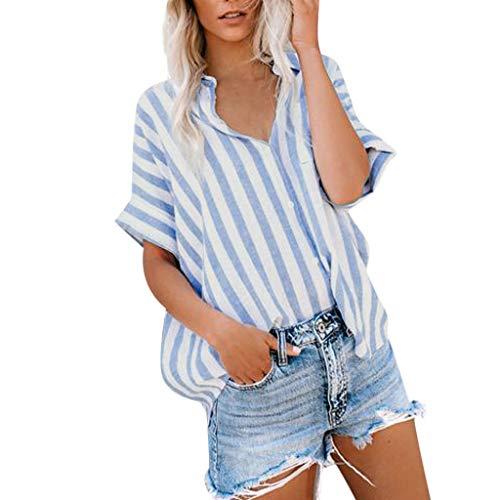 Shinehua Gestreepte damesblouse elegante V-hals lange mouwen casual bovendeel los lange mouwen shirt vintage tuniek hemd t-shirt blousenshirts knoop hemdblouse Medium lichtblauw