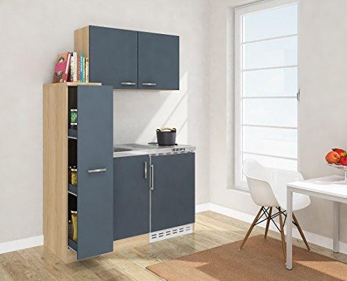 respekta Mini Küche Singleküche 130 cm inkl. Oberschrank Eiche Sägerau Nachbildung Front grau MK 130 ESGOS