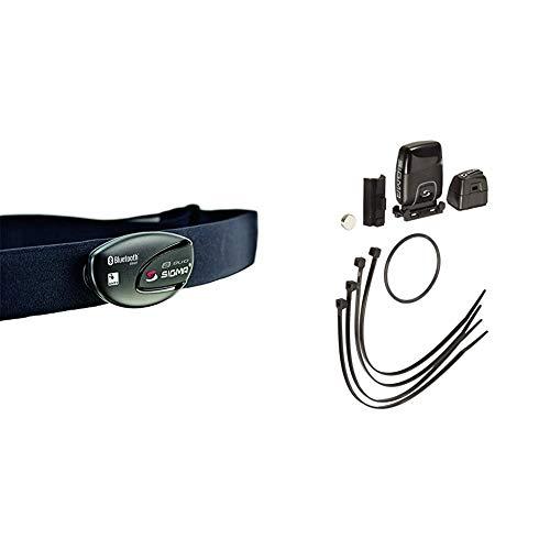 Sigma Sport Zubehör, R1 Duo Herzfrequenz Sender (ANT+/Bluetooth Smart) inkl. COMFORTEX+ & Sigma Zubehör Ant+ Trittfrequenz Sender, Schwarz, 10 x 6 x 4 cm