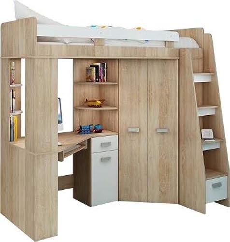 producto de calidad Juego de muebles infantiltodo en uno, escaleras en la la la parte derecha,cama alta con escalera,armario, estantes, escritorio  100% garantía genuina de contador