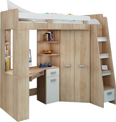 Hochbett/Etagenbett/Entresole – alle in einer rechts Ablesen Treppen – Kinder Möbel Set. Bett, Kleiderschrank, Regal, Schreibtisch Sonoma Oak - White