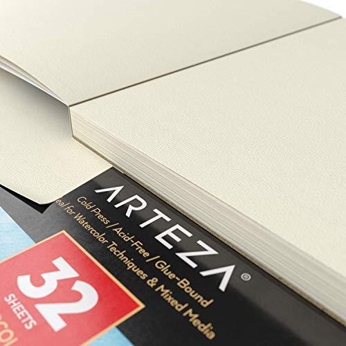 Arteza Aquarellblock A4 (21x29.7 cm), 32 Blatt Aquarellpapier 140lb/300gsm, kaltgepresstes säurefreies Wasserfarben Papier, klebegebundener Malblock für Aquarell & Mischtechniken
