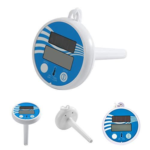 Undersea Schwimmbadthermometer Schwimmend, Solar Power Schwimmbad Thermometer Digital Swimming Pool SPA Schwimmthermometer Blau
