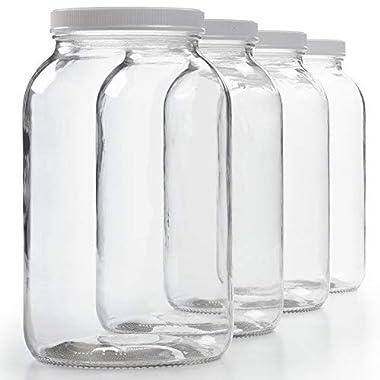 4 Pack - 1 Gallon Glass Jar w/ Plastic Airtight Lid, Muslin Cloth, Rubber Band - Wide Mouth Easy Clean - BPA Free & Dishwasher Safe - Kombucha, Kefir, Canning, Sun Tea, Fermentation, Food Storage
