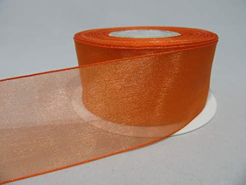 Beautiful Ribbon 2 mètres de Ruban 40 mm 4cm Pure Organza Citrouille Orange foncé Double Face faveurs 40 mm
