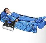 3 en 1 Presoterapia con infrarrojos masajes Máquina de adelgazamiento de EMS drenaje linfático Presoterapia Maquina adelgazante traje 20 bolsas de aire,Azul