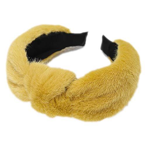 Beautiful Crown Womens mädchen Winter flaumig plüsch breiter Stirnband, solide süßigkeiten Farbe Twist geknotete Zentrum haarreifen für lässig Make-up waschen Gesicht Styling schiedsauber