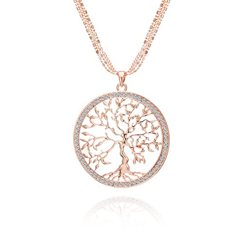 Celtic Tree of Life Pendant Necklace Necklace for Women,Girls Silver and Rose Gold Long Chain Sweater Necklace with Shining CZ Crystal (Rose Gold)