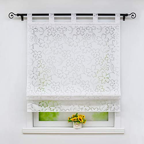 Joyswahl Raffrollo Ausbrenner Raffgardinen mit Schlaufen »Jessica« Gardinen BxH 120x140cm Weiß Blumen 1er Pack