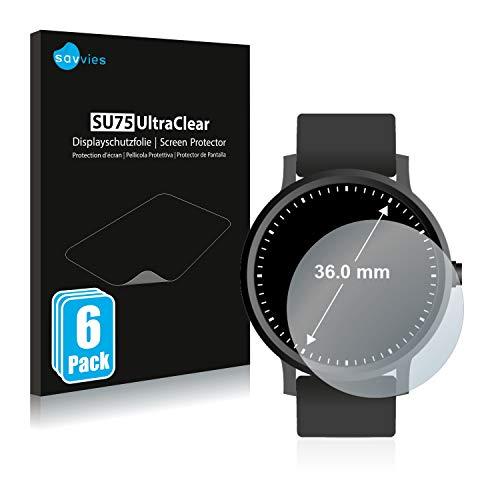 Savvies 6X Schutzfolie kompatibel mit Armbanduhren (Kreisrund, Durchmesser: 36 mm) Displayschutz-Folie Ultra-transparent