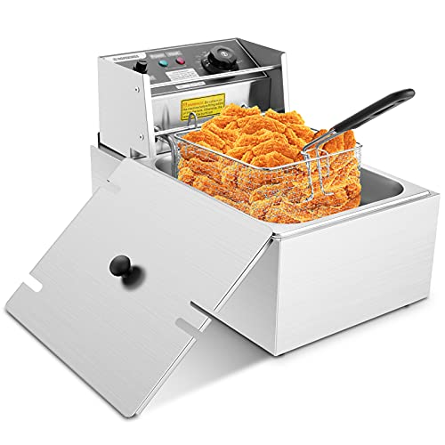 DREAMVAN Deep Fryer, 1700W Electric Deep Fryer with Basket, Stainless Steel, Adjustable Temperature, 6 Liters Oil Capacity Immersion Element Deep Fryer for Home Use (Silver)