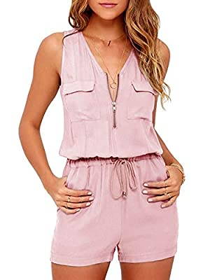 Hestenve Womens Summer V Neck Sleeveless Short Jumpsuit and Rompers Zipper Drawstring Playsuits Pink