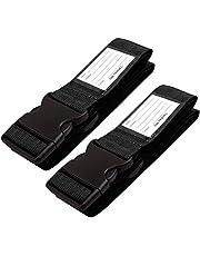 Correas para Equipaje, Cinturones de la Maleta Ajustables de Equipaje de Viaje Cinturones, Accesorios de Viaje Embalaje con Ranura para Etiquetas de identificación (2 - Negra)