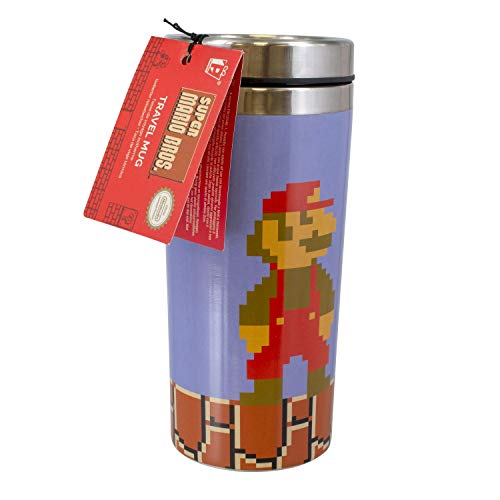 Paladone Unisex's PP5017NN Super Mario Travel Mug | Reuseable Commuter Cup | Insulated Coffee & Tea Flask | Easy Clean | Keeps Drinks Hot | 450ML Capacity | Spill & Leak Proof, Multicoloured