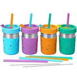 4 Pack Stainless Steel Tumbler - 10 OZ Mason Jars Spill Proof Kids & Toddler Cups with Leak Proof Regular Lid & Silicone Straw, Sleeve, Stopper,BPA FREE Smoothie Snack Cups Baby Sippy Cup for Drinking