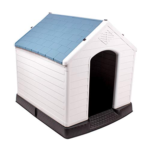 442 Trade Pet Waterproof Plastic Dog Kennel with Air Vents and Elevated Floor for Indoor Outdoor Use Pet Dog House Winter House XLarge 38 inc (Blue)