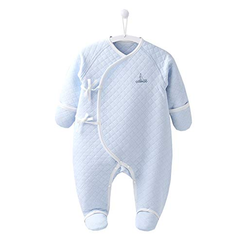 COBROO 100% Cotton Newborn Footie Pajamas with Mittens Side-Belt Infant Footed Sleeper Cozy Warm Baby Outfits Blue