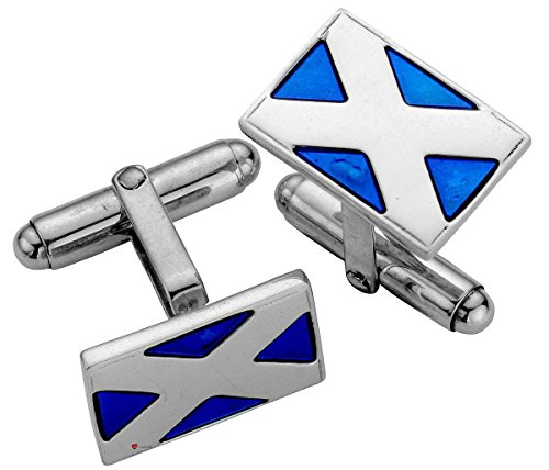 Cufflinks Sterling Silver Rectangular Blue Enamelled Scottish Saltire
