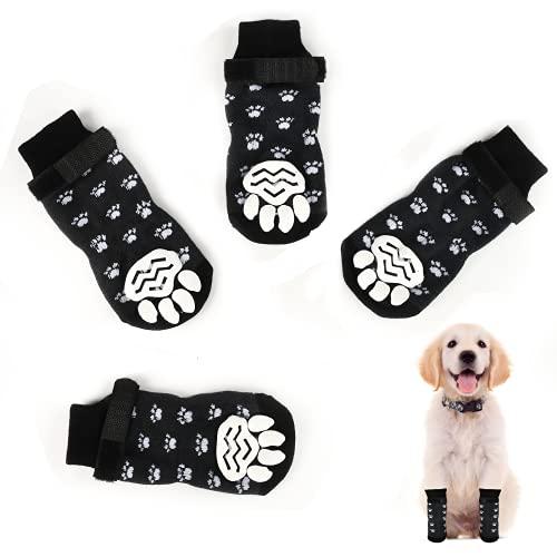 Dereine 2paar Anti Rutsch Socken für Hund und Katzen mit Festgelegt Trägern,Pfotenschutz und Traktion Dank Silikon Gel,3 Größen Vollständige Palette Haustierpfotenschutz (S, Schwarz)