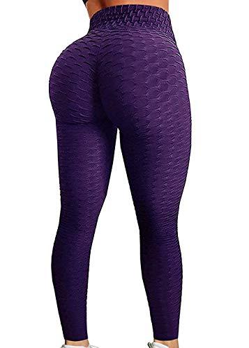 Adame Frauen Waben Butt Lifting Anti Cellulite Compression Leggings, High Waist Yoga Hose (violett, S)