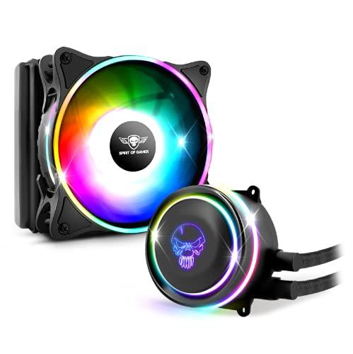 Spirit Of Gamer - LIQUID FORCE 120 ARGB - Kit de refrigeración por agua para procesadores Intel y AMD - Retroiluminación RGB direccionable 3 Pin / 5 Voltios - Ventilador de 120mm