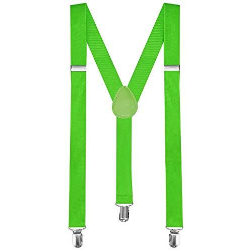 tumundo Bretelles avec 3 Fort Clips Large Y Réglable Etroit Modèles Unisexe Pantalons Robe de Fantaisie Femmes Homme, Variante:Vert