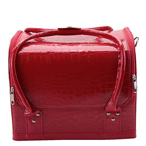 Com zíper de hardware, bolsa de maquiagem, bolsa cosmética mais funcional e confortável, para viagens ao ar livre(red)