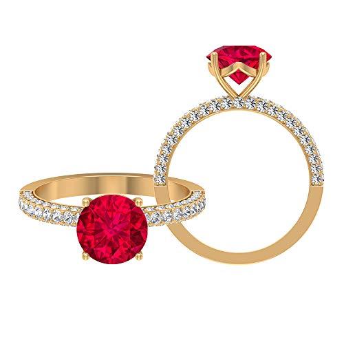 Anillo solitario vintage, piedras preciosas redondas de 3 quilates, moissanite D-VSSI 8 mm relleno de vidrio rubí, anillo de compromiso con ajuste francés, 18K Oro amarillo, Size:EU 54