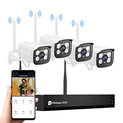 Wireless Security Camera System with Two Way Audio,1080P 8CH NVR 4Pcs WiFi IP Surveillance Camera for Outdoor Indoor Home/Waterproof/Night Vision/Motion Alert/Remote Access,NO Hard Drive