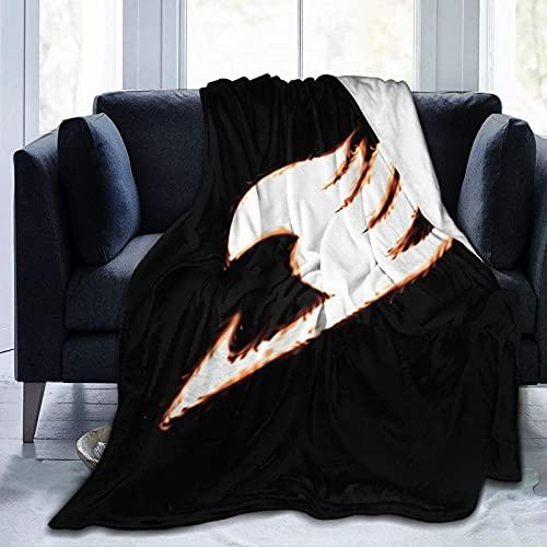 Manta de forro polar suave, logotipo de cola de hadas japonés para mantener el colchón de cama caliente, mantas de felpa de lana exquisitas para perrera en aviones de todas las estaciones,