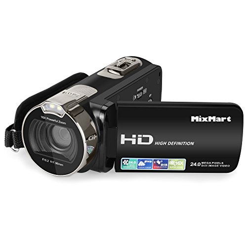 MixMart Videocámara, Camcorder HD 1080P 24 MP 16X Digital Zoom Video Camcorder con Pantalla LCD y…