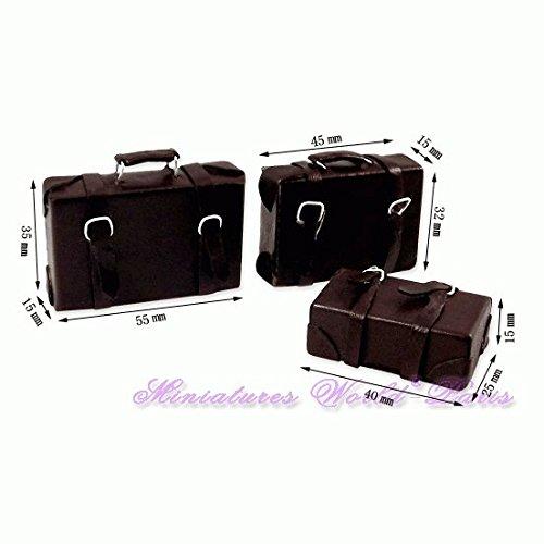 Miniatures World - Set di 3 valigie in Similpelle per Decorazioni in Miniatura e Case delle Bambole in Scala 1:12