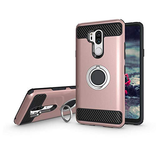 Newseego Compatible with LG G7 ThinQ Case,LG G7 Case 6.1inch with Armor Dual Layer 2 in 1 with Extreme Heavy Duty Protection and Finger Ring Holder Kickstand for LG G7 ThinQ -Rose Gold