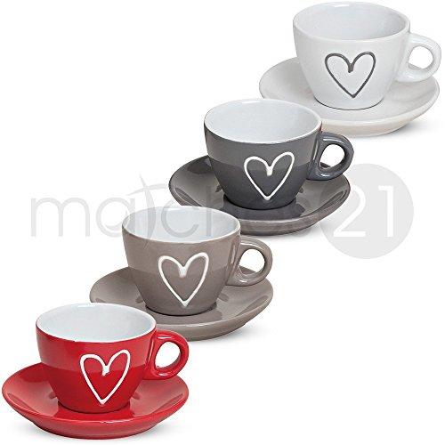 matches21 Espressotassen Tassen Becher 8-tlg. Set Herzdekor weiß grau braun rot inkl. Unterteller aus Keramik, je 5 cm hoch / 50 ml