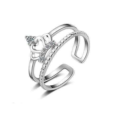 PRAK Damen 925 Sterling Silber Ringe,Verstellbarer Ring Zirkon Diamant Krone Silber Hochzeit Ringe Für Frauen Finger Ringe Und Veranstaltungsräume Wesentliche Kleidung Passende