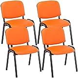 CLP 4er Set Besucherstuhl Ken Kunstleder I Stapelstuhl Mit Robustem Metallgestell I Polsterstuhl Mit Rückenlehne, Farbe:orange