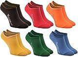Rainbow Socks - Damen Herren - Bunte Füßlinge Unsichtbare Socken - 6 Paar - Braun Rot Orange Gelb Grün Marineblau - Größen 36-38