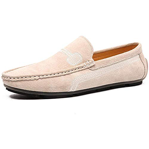 YXDOO Herren Klassische Slipper Mokassin Schuhe Slip On Loafers Wohnungen Fahren Halbschuhe Beige