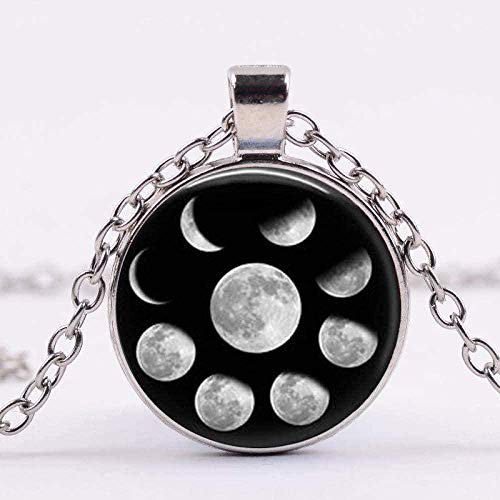 ZJJLWL Co.,ltd Necklace Necklace Astronomy Moon Phase Necklace Lunar Cycle Art Image Glass Cabochon Pendant Necklace Galaxy Planet Science Jewelry