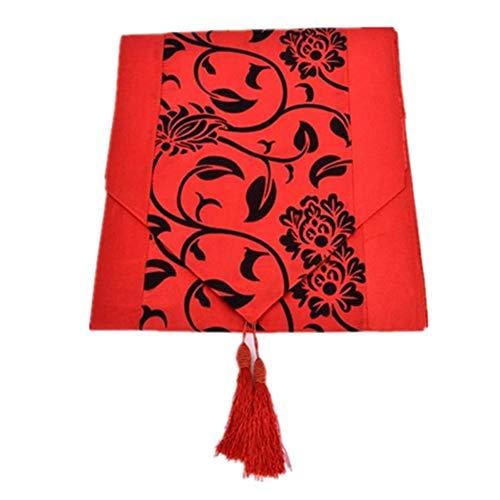Krx Chemin De Table à Fleurs Rétro Tapis De Table à Manger Maison Cuisine Fête De Mariage Table à Manger Décor Pour Intérieur Et Extérieur rouge